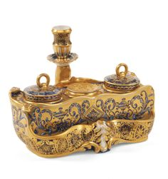 Porcelain inkstand with the cipher  of Nicholas I
