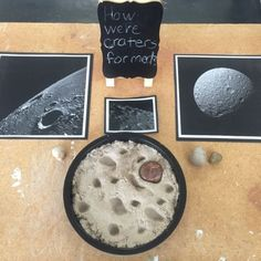 """Inquiry, """"How Were Craters Formed?"""" (from Inquiring Minds: Mrs. Myers' Kindergarten) Inquiry, How Were Craters Formed? (from Inquiring Minds: Mrs. Reggio Emilia, Space Theme Preschool, Preschool Science, Space Activities For Kids, Space Theme Classroom, Science Inquiry, Preschool Bulletin, Classroom Design, Space Planets"""