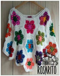 Dress Fashion Pic little Dress Sketches By Fashion Designers + Dress Fashion Hijab. Col Crochet, Crochet Poncho Patterns, Crochet Square Patterns, Crochet Jacket, Crochet Blouse, Crochet Granny, Crochet Scarves, Crochet Motif, Crochet Shawl