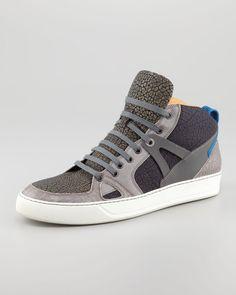 e2cda897df6beb Lanvin Textured Colorblock Hitop Sneaker in Gray for Men (anthracite) - Lyst  Best Mens