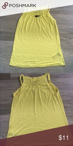 Yellow Crocheted back tank top Adorable crocheted back tank top. V neck in front, crocheted straps and detail in back. Flowy, looser fitting style. Buffalo David Bitton Tops Tank Tops