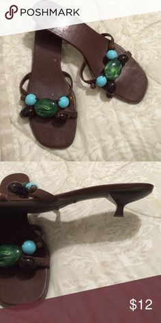 "Turquoise, jade and amber beaded 1"" heels. Beaded 1"" heels in brown man made material by Fioni FIONI Clothing Shoes Heels"