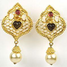 92c7dee5492 Edouard Rambaud Paris Lattice with Heart & Pendant Pearl Clip Earrings  Vintage Costume Jewelry, Vintage