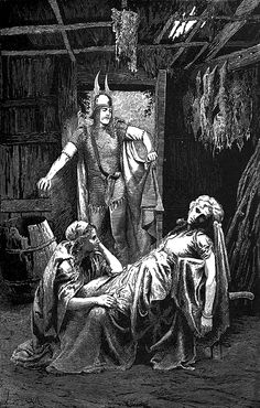 """Eric finds his mother dead. From """"Eric Brighteyes"""" (1891) illustrated by Lancelot Speed"""