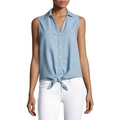 Soft Joie Creta Sleeveless Tie-Front Chambray Shirt ($138) ❤ liked on Polyvore featuring tops, blue, blue top, chambray shirts, sleeveless shirts, v neck tops and spread collar shirt