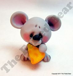 *POLYMER CLAY ~ OOAK Hand Sculpted Polymer Clay Mouse n Cheese Figurine by The Felted Bear
