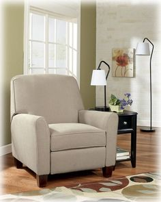(Ashley Aimee Jute Contemporary modern beige fabric club chair recliner & Aubrey Leather Recliner Chair in
