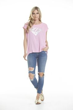 Charlo Zoe Diamond Tee (Pink) Soft every day tee in light pink with silver foil crownAlso available in blue and whiteStandard fitPoly blend Model is and is wearing a size 8 Royal Blue, Diamond, Tees, Pretty, Model, Pink, How To Wear, Collection, Fashion