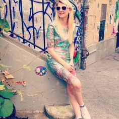 #holographic #asos #hologram  #look #outfit #canalsaintmartin #summer #streetart #blondgirl #style #mode #summerstyle #mermaid #fashion #topcrop #tattoo #tattoogirl #inked #inkedgirl