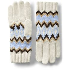 Lands' End Women's Winter Fair Isle Gloves ($29) ❤ liked on Polyvore featuring accessories, gloves, blue, fair isle gloves, lands' end, lands end gloves and blue gloves