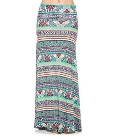 Loving this Frumos Green & Blue Geometric High-Waist Maxi Skirt - Plus Too on #zulily! #zulilyfinds