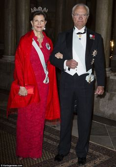 Royal affair: The event was the first official dinner hosted by King Carl XVI Gustaf and Queen Silvia at the Royal Palace in Stockholm this year