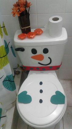 Snowman, cuarto de baño decorado navidad Baño De Navidad, Casas De Navidad, Centros Navidad, Proyectos De Navidad, Coronas De Navidad, Deco Navidad, Navidad Reciclada, Moldes Para Navidad, Decoración Escaleras Navidad