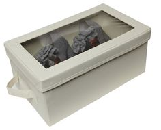 Fabric Shoe Box with Clear Lid - Cream - Shoe Boxes | Shoe Drawers | Shoe Organisers | Hanging Shoe Storage