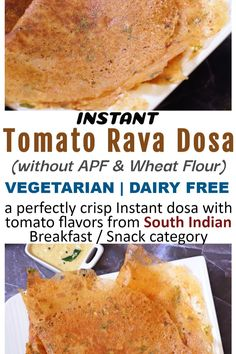 This is a perfectly crisp Instant dosa having tomato flavors, without using wheat flour (atta) & all purpose flour (maida). Perfect healthy breakfast or snack option it is. Just skip the onion, it becomes festive friendly. There is no rice and lentils used in this. #Vegan #Vegetarian #SouthIndianCuisine #InstantDosa #RavaDosa #TomatoDosa #DairyFree #NoFermentation #NoRiceDosa #NoLentilDosa #Semolina #RiceFlour #Onion #Tomato