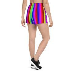 (1) Gay Pride Shorts, Rainbow Stripe Women's Athletic Short Shorts-Made in – Heidi Kimura Art LLC Women's Athletic Shorts, Athletic Women, Short Shorts, Running Shorts, Gay Pride, Running Women, Printed Shorts, Print Design, Gym Shorts Womens