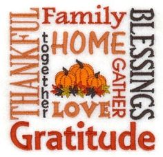 Thankful Family Blessings - 5x7 | Thanksgiving | Machine Embroidery Designs | SWAKembroidery.com Starbird Stock Designs
