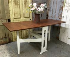 White Kitchen Table, Rustic Dining Room Table, Painted Furniture ...