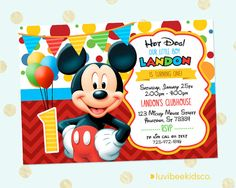 Mickey Mouse Party Invitation  4x6 or 5x7 Inch by LuvibeeKidsCo