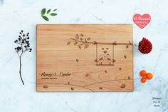 Personalized Cutting Board Engraved Custom - Love Birds - Wedding Gift - Anniversary Gift  - Love Gifts - Couples Gift - Engagement Gift
