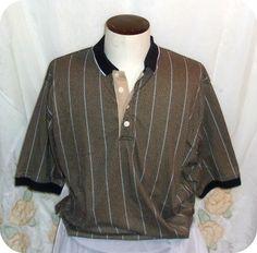 Bobby G Mens Polo Shirt Size XL Black Tan Striped Short Sleeve Cotton #BobbyG #PoloRugby #Clothing #Mens #SizeXL