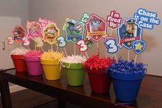 Paw Patrol Centerpices set of Six ----------------------------------------------------------------------------------------------------------------------------------------------------PLEASE READ FULL LISTING BEFORE PLACING ORDER