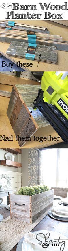 Super easy DIY Planter Box for under 10 Love the barn wood planks Wood Planter Box, Wood Planters, Planter Box Centerpiece, Barn Wood Projects, Home Projects, Diy Spring, Palette Deco, Wood Crafts, Diy Crafts