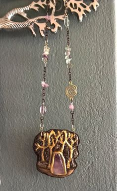 Healing Crystals Necklace( The Tree) made with Porcelain ,Leather ,Amethyst and Fluorite Crystal Quartz Brass Necklace, Crystal Necklace, Unique Necklaces, Unique Jewelry, Healing Crystals, Quartz Crystal, Amethyst, Porcelain, Trending Outfits