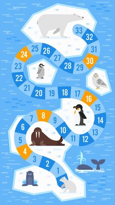 Vector flat style illustration of kids arctic animals board game template. For print. Board Game Template, Printable Board Games, Math Board Games, Board Games For Kids, Childrens Board Games, Polar Animals, Board Game Design, Animal Games, Preschool Activities