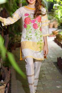 Buy White/Yellow Embroidered Cotton Lawn Dress (2pc) by Charizma 2016 Contact: (702) 751-3523 Email: info@pakrobe.com Skype: PakRobe