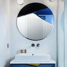 The decorative round Nouveau 80 mirror in blue colors can be combined into a seductive wall decoration that beautifully reflects the room around. Beautiful Mirrors, Beautiful Bathrooms, Mirror Game, Mirror Mirror, Space Architecture, Round Mirrors, Designer, Reflection, House Design