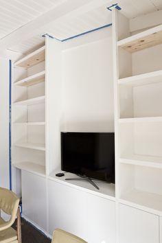 DIY built-in shelves // home update // smitten studio Ikea Built-in Hack, base, Ikea upper cabinets, 3 - and 3 trim, vertical shelf supports are primed 1 applaud doors Diy Built In Shelves, Ikea Built In, Wood Shelves, Shelving, Ikea Kitchen Cabinets, Sofa Frame, Built Ins, Home Renovation, Studio