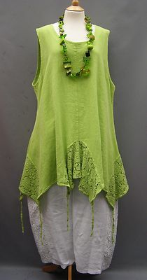 La Bass Just in Lime Linen Asymeterical Lace Tie Tunic Size 1 18 24 | eBay