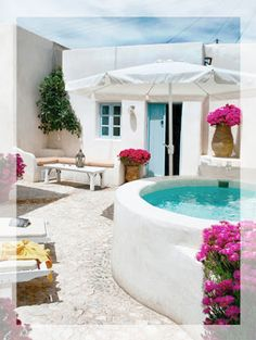 santorini courtyards