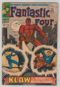 Fantastic Four; Vol 1, 56, Silver Age Comic Book. GD-. November 1966.  Marvel Comics #fantasticfour #klaw #jackkirby #stanlee #silveragecomics #comicsforsale