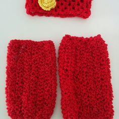 Χειροποίητη πλεκτή κορδέλα και γκέτες σε κόκκινο