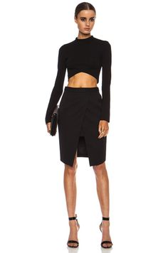 Barbara Bui|Asymmetrical Knee Length Wool Skirt in Black [5]