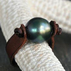 Tahitian Pearl on Leather Ring by nicholaslandon on Etsy, $98.00