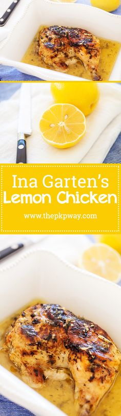 Ina's lemon chicken is a no fuss dish that's comforting, familiar, and utterly satisfying. Make ahead of time or right before serving. Duck Recipes, Chicken Recipes, Wing Recipes, Fast Recipes, Healthy Recipes, Healthy Cooking, Delicious Recipes, Ina Garten Lemon Chicken, Ina Garten Roast Chicken