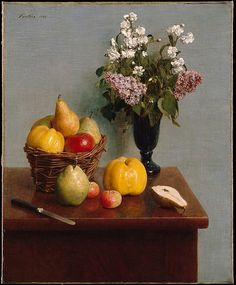 Henri Fantin-Latour (French, Grenoble 1836–1904 Buré). Still Life with Flowers and Fruit, 1866. The Metropolitan Museum of Art, New York. Purchase, Mr. and Mrs. Richard J. Bernhard Gift, by exchange, 1980 (1980.3) | Among Fantin's first major achievements as a still life painter, the present work reflects his aspiration to create serious and complex compositions in a realist style inspired by Chardin and Courbet.