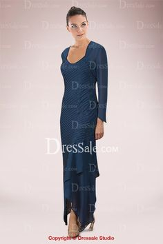 This manifest dress builds up a modest mother in fabulous sheath silhouette enjoying a dapper jacket with long sleeves. Featuring Queen Anne neckline, it is highlighted with slant ruches in shimmery linear style sprawling almost all along torso. And the skirt is distinguished by irregular hem.
