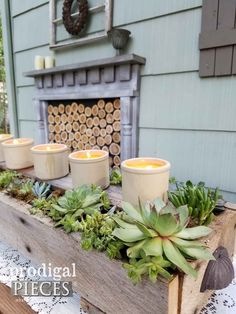 Do you love succulents too? Create this rustic DIY succulent centerpiece planter from a new or reclaimed wood. Simple tools and supplies are all you need. Suculentas Diy, Cactus Y Suculentas, Succulent Landscaping, Planting Succulents, Succulent Plants, Landscaping Ideas, Succulent Centerpieces, Centrepieces, Outdoor Garden Furniture