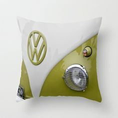 VW Camper Sage Green Throw Pillow by Alice Gosling - $20.00
