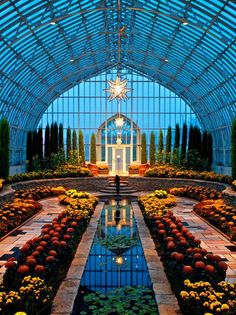 The Sunken Garden is all decked out for Fall at the Marjorie McNeely Conservator. - The Sunken Garden is all decked out for Fall at the Marjorie McNeely Conservatory in St. The Places Youll Go, Places To Visit, Foto Fantasy, Sunken Garden, Beautiful Architecture, Minnesota, Beautiful Places, Scenery, Castle