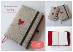 Kalenderhülle aus Filz Herzig DIN A6 Größe von HaGi by Herzig ♥ Genaehtes auf DaWanda.com