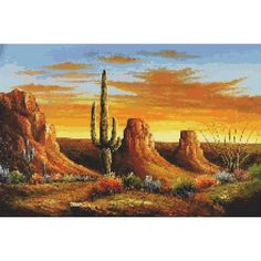 desert cross stitch  | Counted Cross Stitch Pattern Desert Sunset Scenic Cactus PDF cs0759