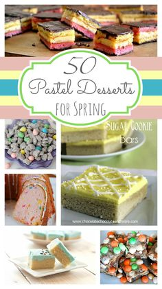 50 Pastel Desserts for Spring - Chocolate Chocolate and More! Spring Desserts, Spring Recipes, Easter Recipes, Just Desserts, Delicious Desserts, Dessert Recipes, Yummy Food, Easter Desserts, Holiday Treats