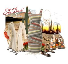 The Desert by geoincalifornia on Polyvore featuring polyvore, fashion, style, Draw In Light, Sikara & Co., Orla Kiely, Gerard Yosca, Timorous Beasties, luxury rebel, anthropologie, maia column dress, bailey 44, apple mangrove cardigan, desert colors and luminous disk sandals