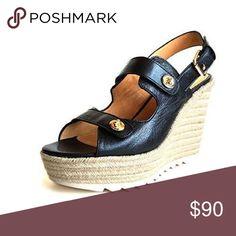 Coach Electra Black Pebble Grain Leather Wedge Coach Electra Black Pebble Grain Leather Wedge Sandal 9.5 M US Coach Shoes Wedges