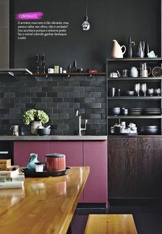 O charme de uma cozinha colorida…